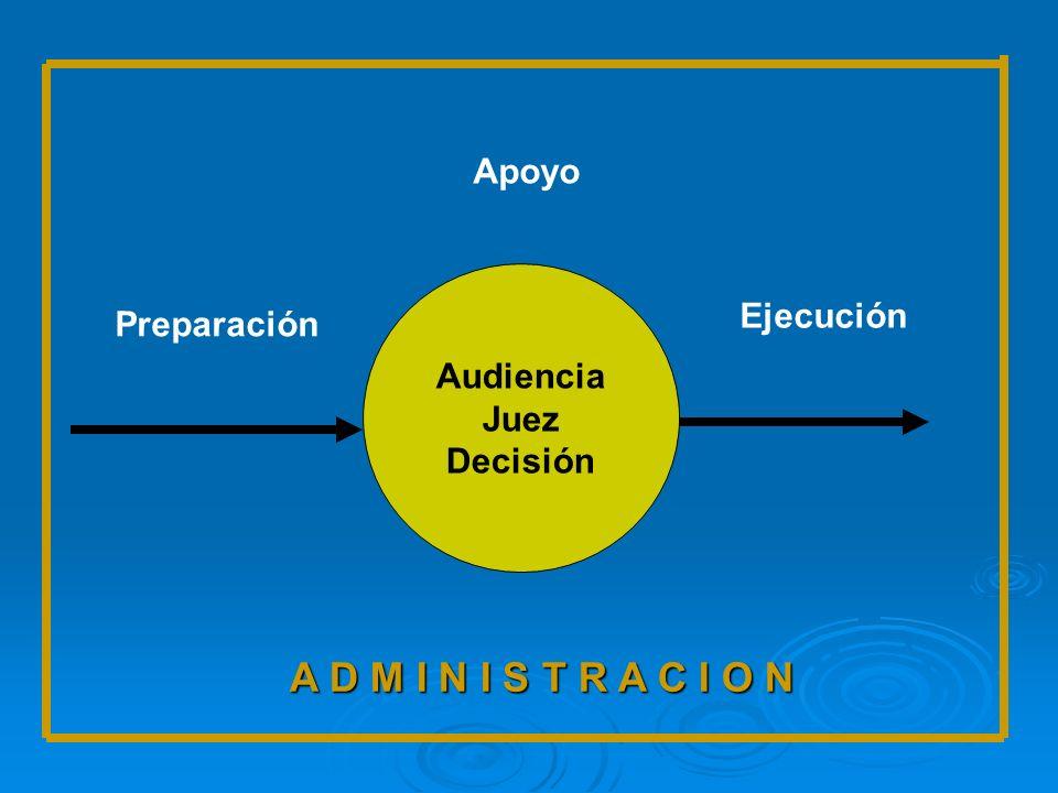 Audiencia Juez Decisión Preparación Apoyo Ejecución A D M I N I S T R A C I O N