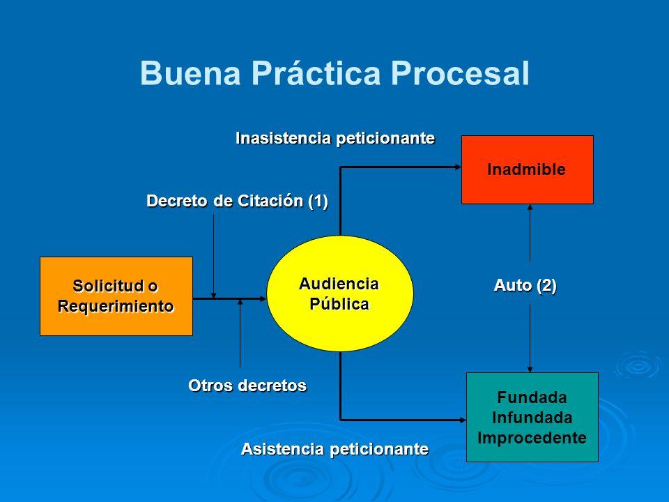 Buena Práctica Procesal Solicitud o Requerimiento AudienciaPública Inadmible Fundada Infundada Improcedente Inasistencia peticionante Asistencia petic