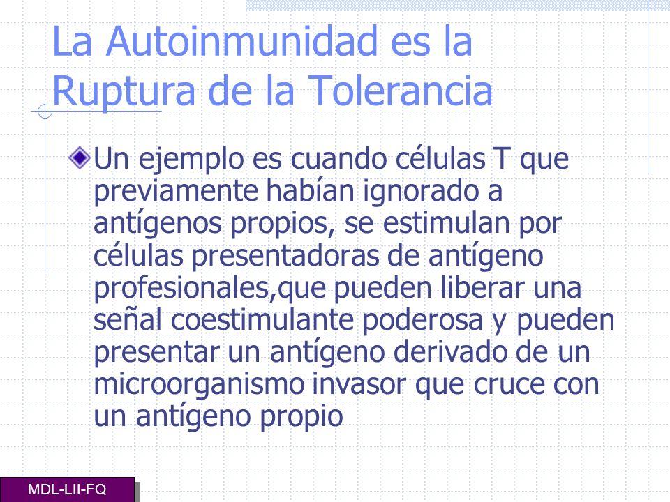 La Autoinmunidad es la Ruptura de la Tolerancia Un ejemplo es cuando células T que previamente habían ignorado a antígenos propios, se estimulan por c
