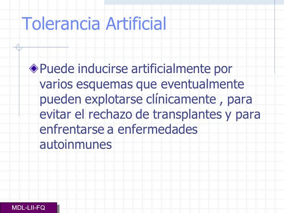 Tolerancia Artificial Puede inducirse artificialmente por varios esquemas que eventualmente pueden explotarse clínicamente, para evitar el rechazo de