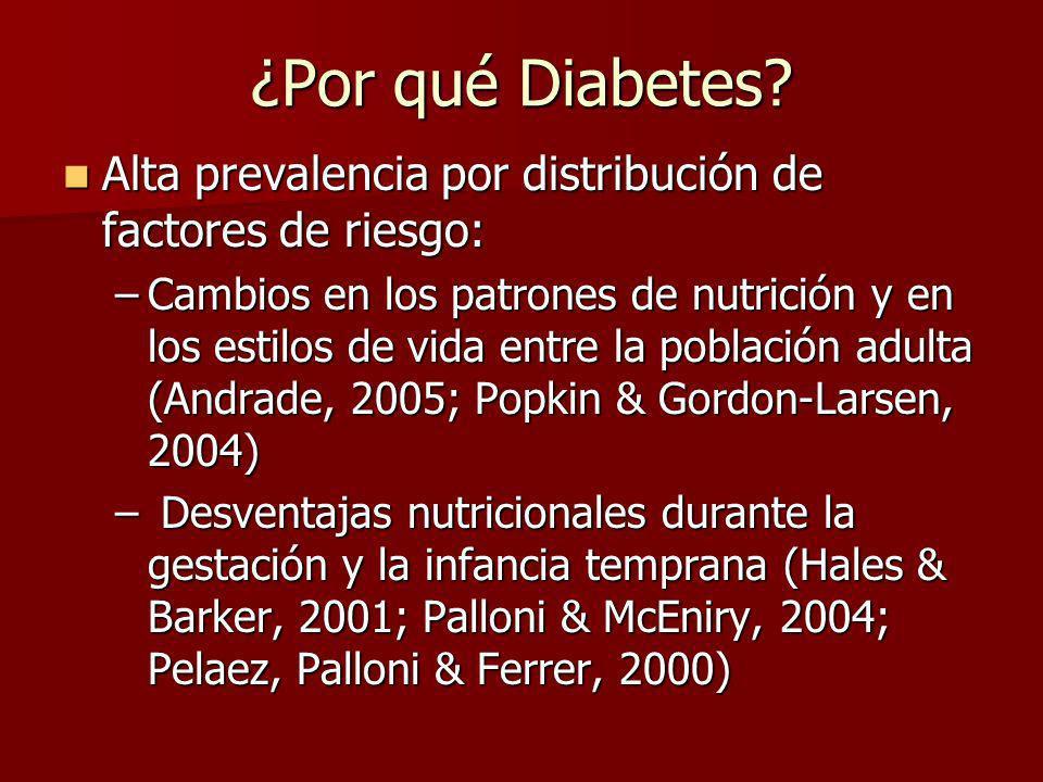 Biomarcadores para definición clínica de diabetes Se escogió niveles de glucosa porque: Se escogió niveles de glucosa porque: –Recomendada por OMS, junto con la Prueba Oral de Tolerancia a la Glucosa –Utilizada en servicios de salud para diagnosticar diabetes