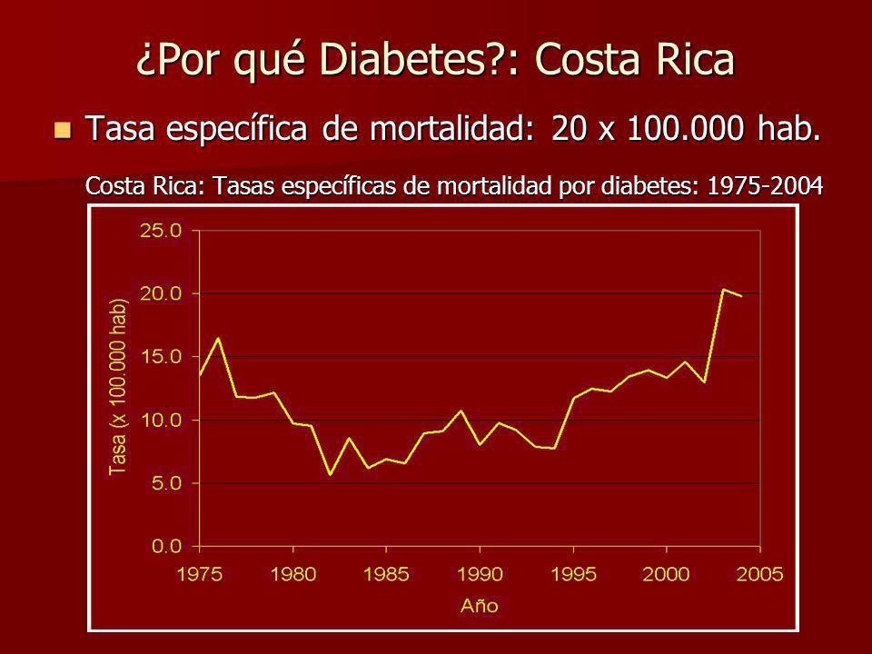 ¿Por qué Diabetes?: Costa Rica Prevalencia en adultos (edad 20): 3.3% (Mackay and Mensah, 2004).