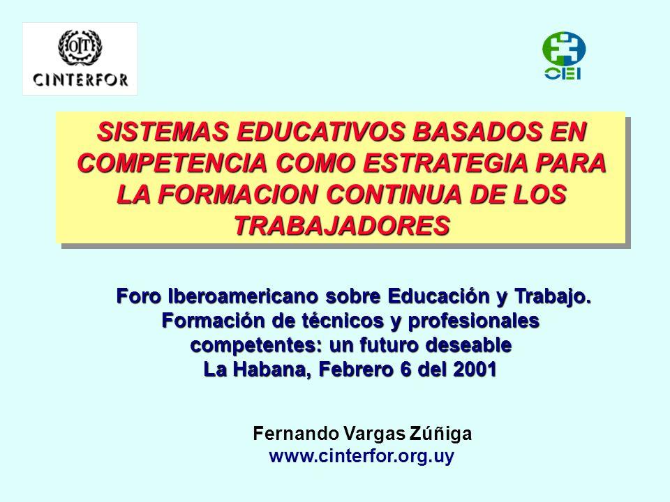 SISTEMAS EDUCATIVOS BASADOS EN COMPETENCIA COMO ESTRATEGIA PARA LA FORMACION CONTINUA DE LOS TRABAJADORES Fernando Vargas Zúñiga www.cinterfor.org.uy Foro Iberoamericano sobre Educación y Trabajo.