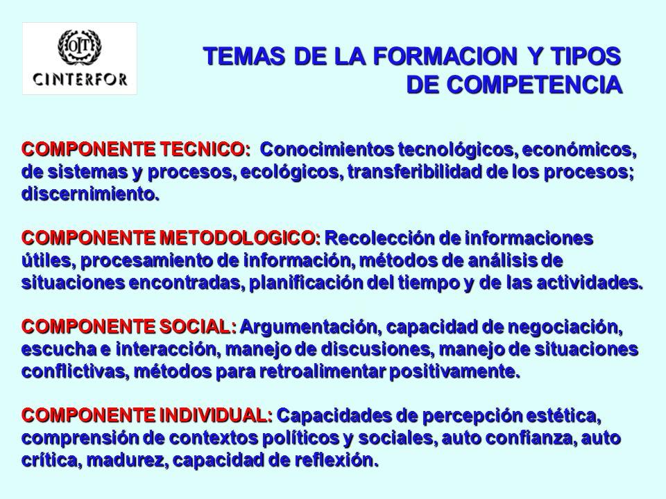 COMPETENCIAS EN LA OPTICA DE LA FORMACION FormaciónTécnica Competencia Competencia Técnica Técnica FormaciónEtico-afectivaCompetenciaIndividual Formac