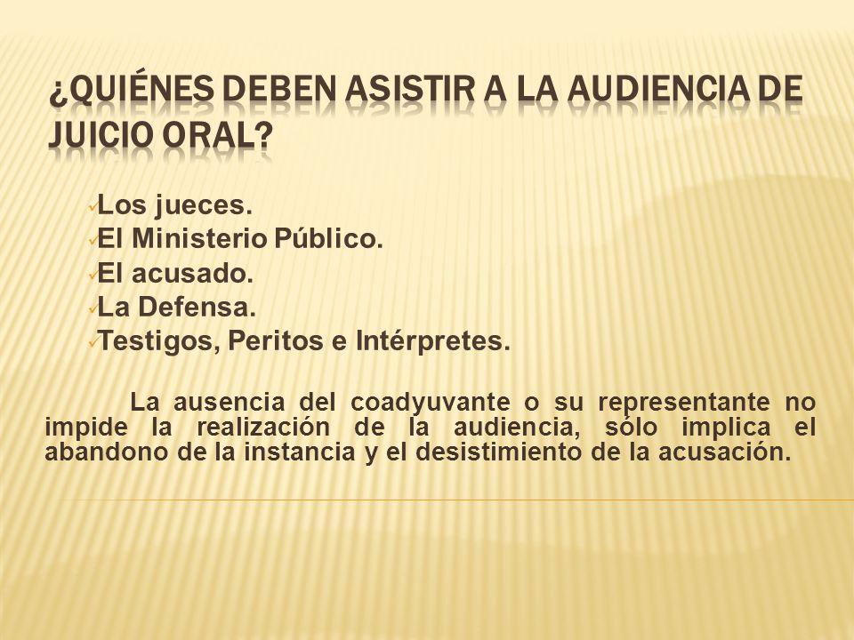 Los jueces.El Ministerio Público. El acusado. La Defensa.