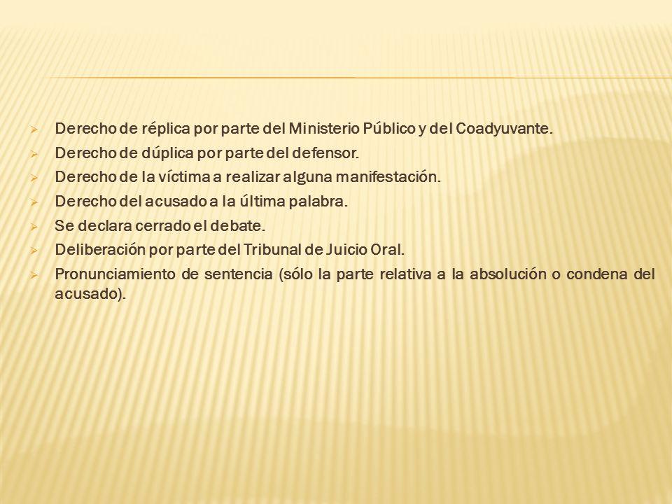 Derecho de réplica por parte del Ministerio Público y del Coadyuvante. Derecho de dúplica por parte del defensor. Derecho de la víctima a realizar alg