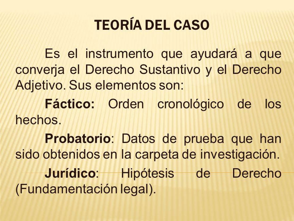 TEORÍA DEL CASO Es el instrumento que ayudará a que converja el Derecho Sustantivo y el Derecho Adjetivo. Sus elementos son: Fáctico: Orden cronológic