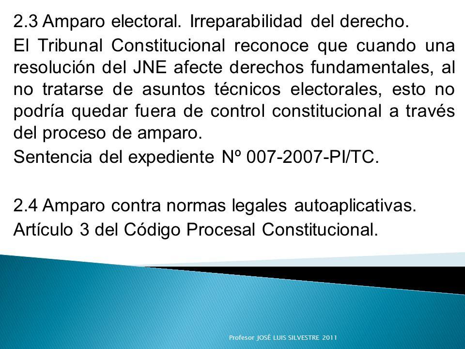 2.3 Amparo electoral. Irreparabilidad del derecho. El Tribunal Constitucional reconoce que cuando una resolución del JNE afecte derechos fundamentales