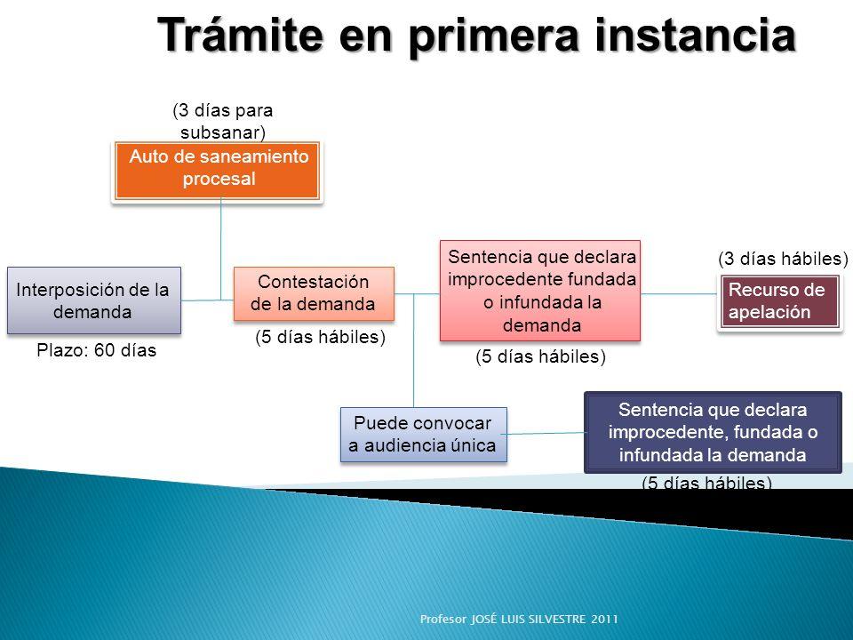 Interposición de la demanda Trámite en primera instancia (3 días hábiles) Auto de saneamiento procesal Contestación de la demanda Puede convocar a aud