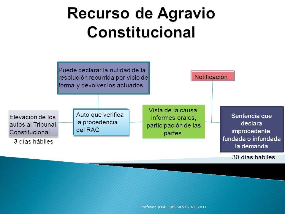 Elevación de los autos al Tribunal Constitucional Auto que verifica la procedencia del RAC Vista de la causa: informes orales, participación de las pa
