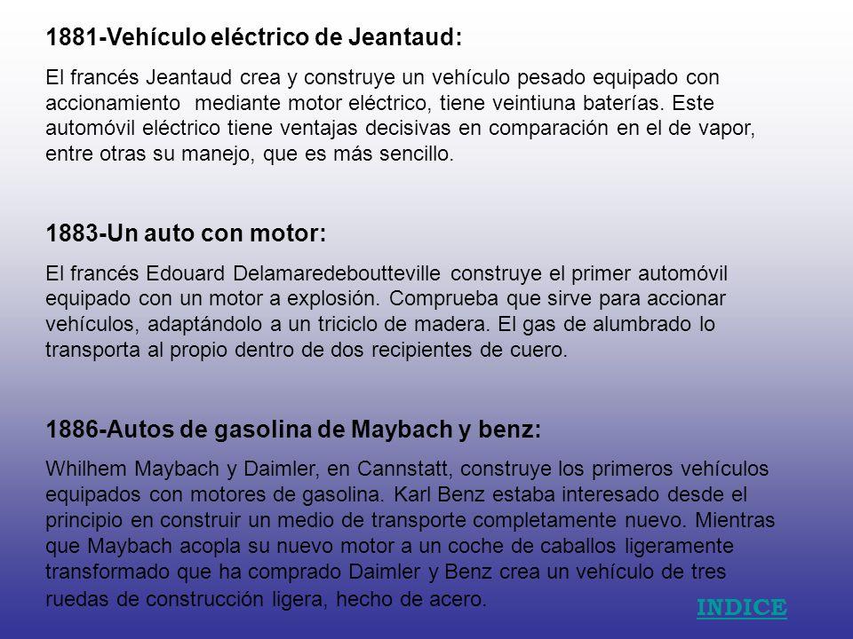 1881-Vehículo eléctrico de Jeantaud: El francés Jeantaud crea y construye un vehículo pesado equipado con accionamiento mediante motor eléctrico, tiene veintiuna baterías.