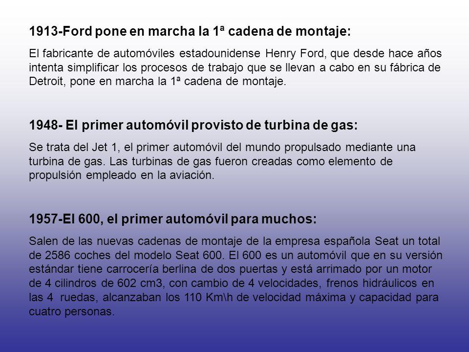1913-Ford pone en marcha la 1ª cadena de montaje: El fabricante de automóviles estadounidense Henry Ford, que desde hace años intenta simplificar los procesos de trabajo que se llevan a cabo en su fábrica de Detroit, pone en marcha la 1ª cadena de montaje.