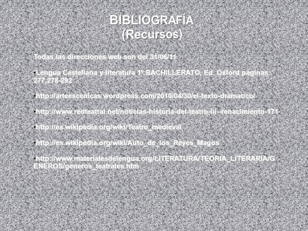 Todas las direcciones web son del 31/06/11 Lengua Castellana y literatura 1º BACHILLERATO. Ed. Oxford páginas: 277,278-292Lengua Castellana y literatu