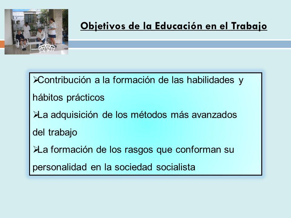 Contribución a la formación de las habilidades y hábitos prácticos La adquisición de los métodos más avanzados del trabajo La formación de los rasgos que conforman su personalidad en la sociedad socialista Objetivos de la Educación en el Trabajo