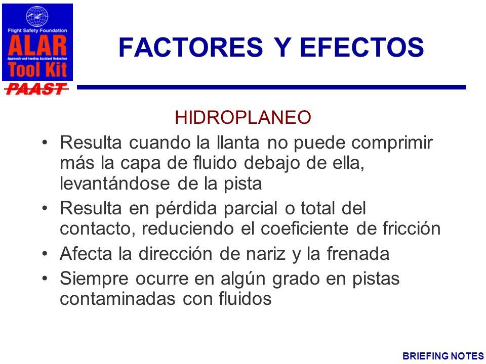 PAAST BRIEFING NOTES FACTORES Y EFECTOS HIDROPLANEO