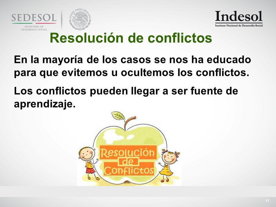 11 En la mayoría de los casos se nos ha educado para que evitemos u ocultemos los conflictos.