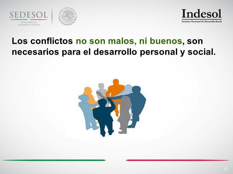 13 Los conflictos no son malos, ni buenos, son necesarios para el desarrollo personal y social.