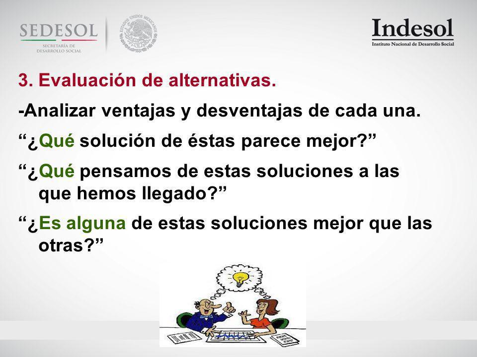 3.Evaluación de alternativas. -Analizar ventajas y desventajas de cada una.