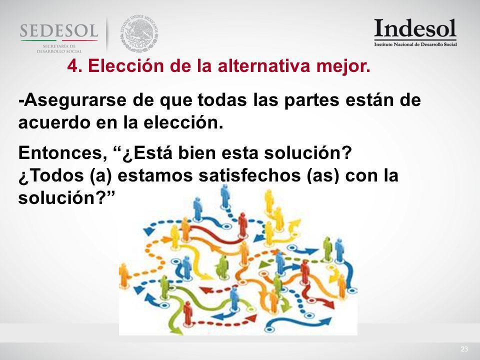 23 -Asegurarse de que todas las partes están de acuerdo en la elección.