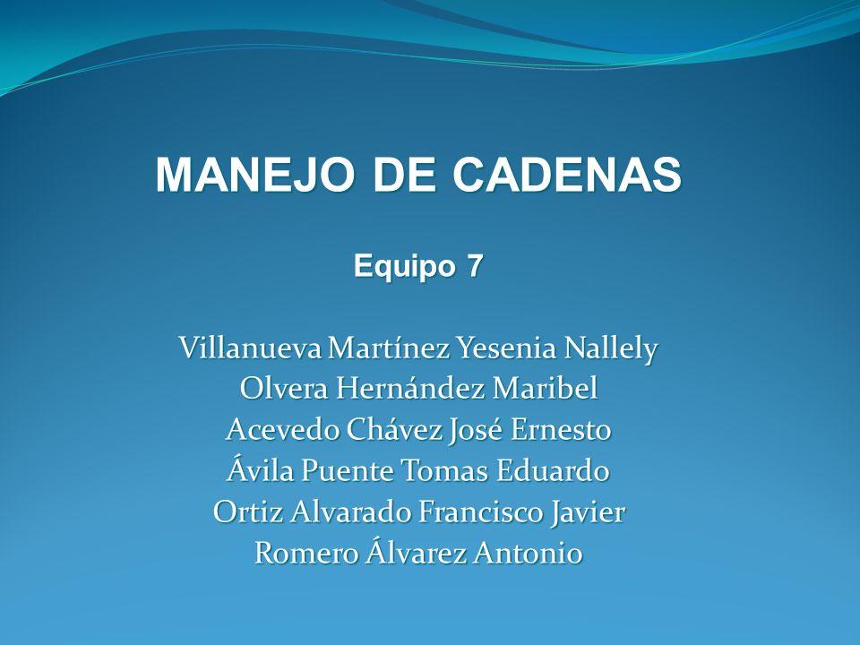 MANEJO DE CADENAS Equipo 7 Villanueva Martínez Yesenia Nallely Olvera Hernández Maribel Acevedo Chávez José Ernesto Ávila Puente Tomas Eduardo Ortiz A
