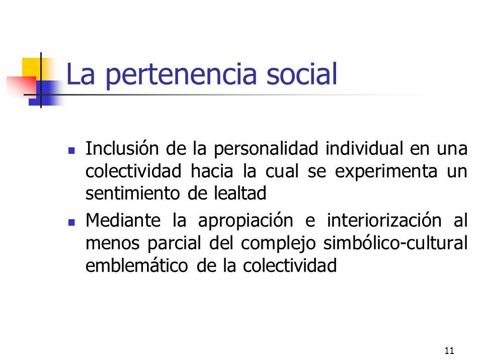 11 La pertenencia social Inclusión de la personalidad individual en una colectividad hacia la cual se experimenta un sentimiento de lealtad Mediante l