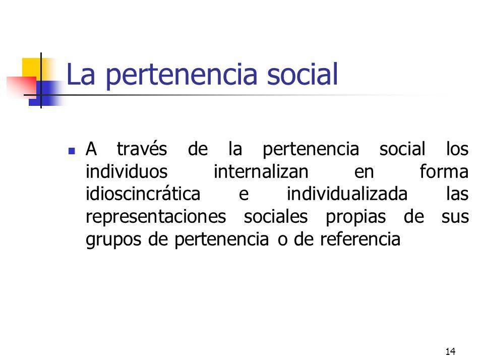 14 La pertenencia social A través de la pertenencia social los individuos internalizan en forma idioscincrática e individualizada las representaciones