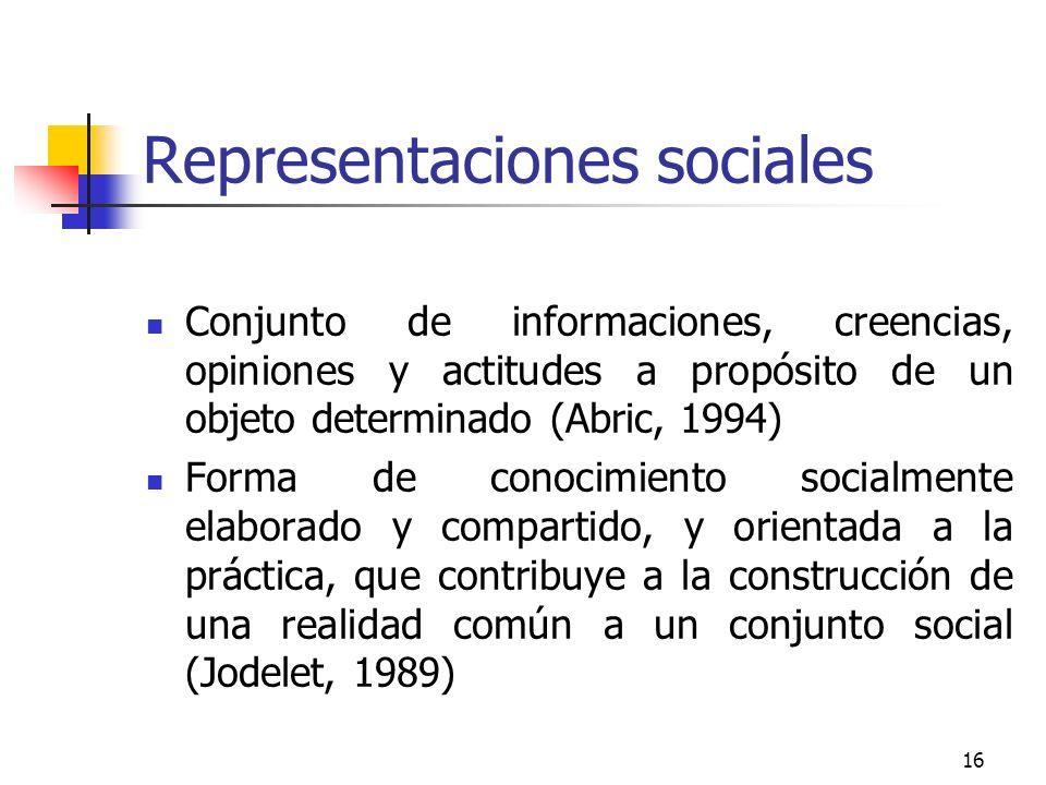 16 Representaciones sociales Conjunto de informaciones, creencias, opiniones y actitudes a propósito de un objeto determinado (Abric, 1994) Forma de c