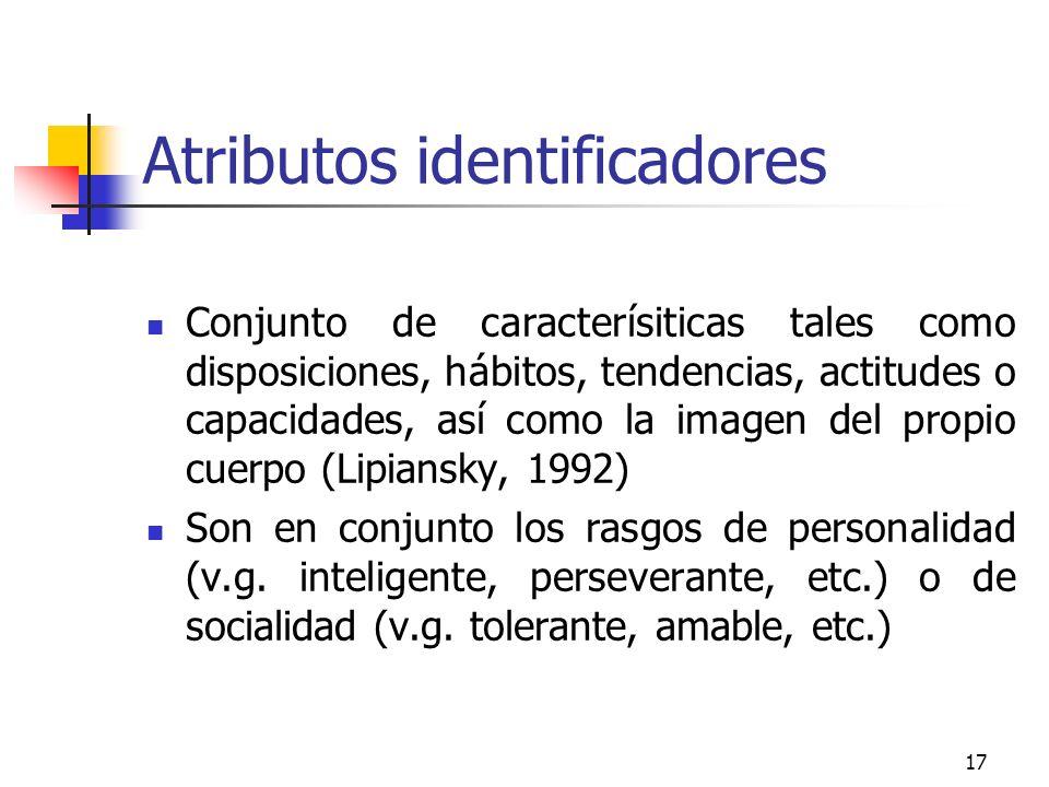 17 Atributos identificadores Conjunto de caracterísiticas tales como disposiciones, hábitos, tendencias, actitudes o capacidades, así como la imagen d