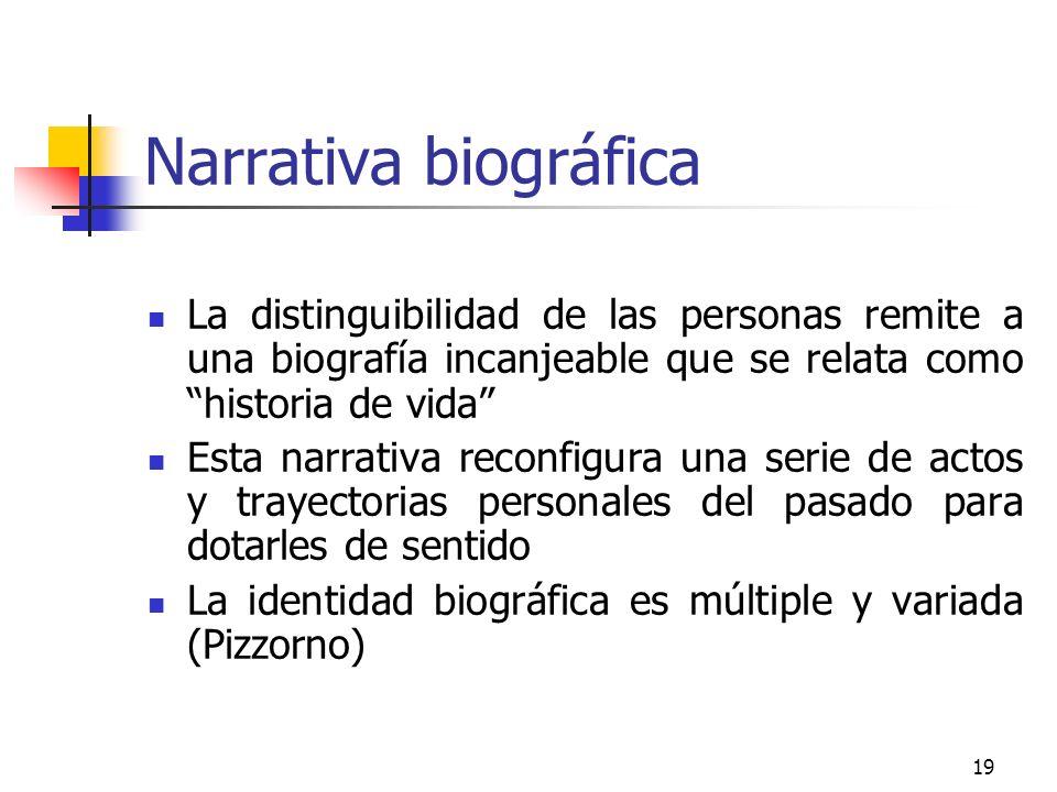 19 Narrativa biográfica La distinguibilidad de las personas remite a una biografía incanjeable que se relata como historia de vida Esta narrativa reco