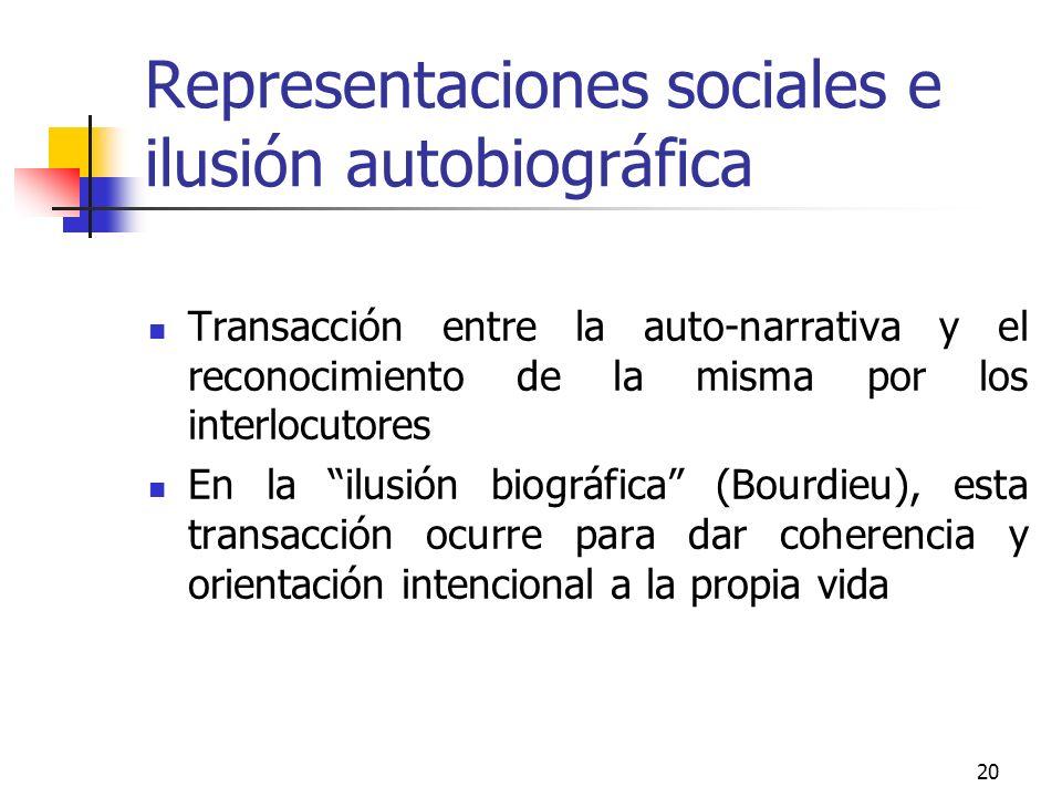20 Representaciones sociales e ilusión autobiográfica Transacción entre la auto-narrativa y el reconocimiento de la misma por los interlocutores En la