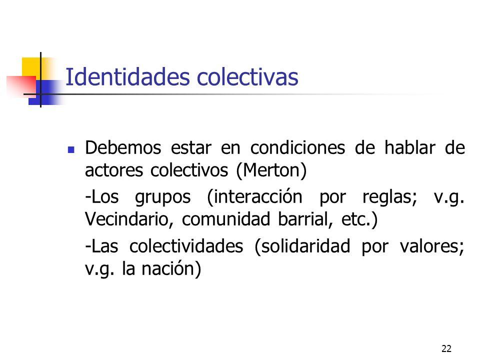 22 Identidades colectivas Debemos estar en condiciones de hablar de actores colectivos (Merton) -Los grupos (interacción por reglas; v.g. Vecindario,