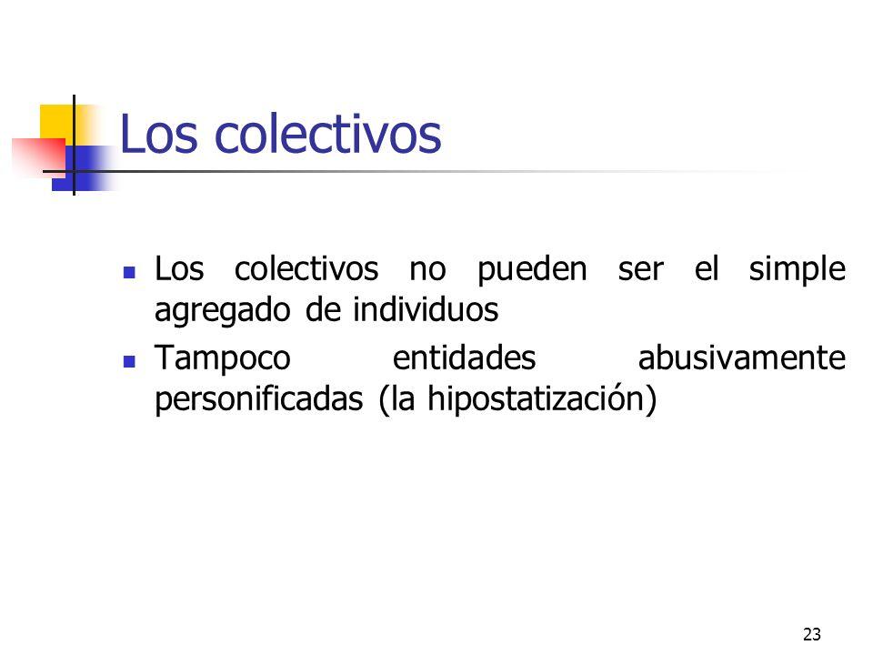 23 Los colectivos Los colectivos no pueden ser el simple agregado de individuos Tampoco entidades abusivamente personificadas (la hipostatización)