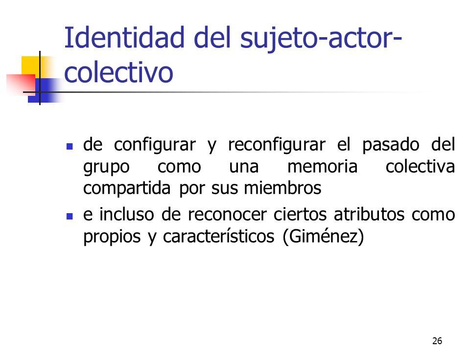 26 Identidad del sujeto-actor- colectivo de configurar y reconfigurar el pasado del grupo como una memoria colectiva compartida por sus miembros e inc