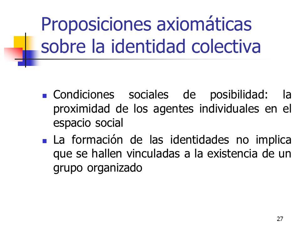 27 Proposiciones axiomáticas sobre la identidad colectiva Condiciones sociales de posibilidad: la proximidad de los agentes individuales en el espacio