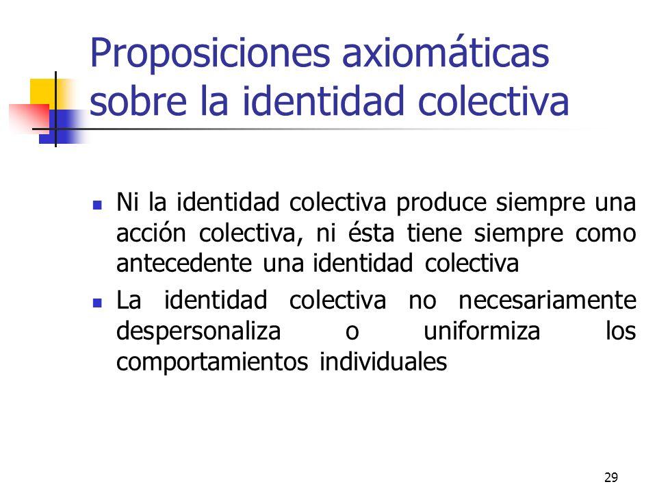 29 Proposiciones axiomáticas sobre la identidad colectiva Ni la identidad colectiva produce siempre una acción colectiva, ni ésta tiene siempre como a