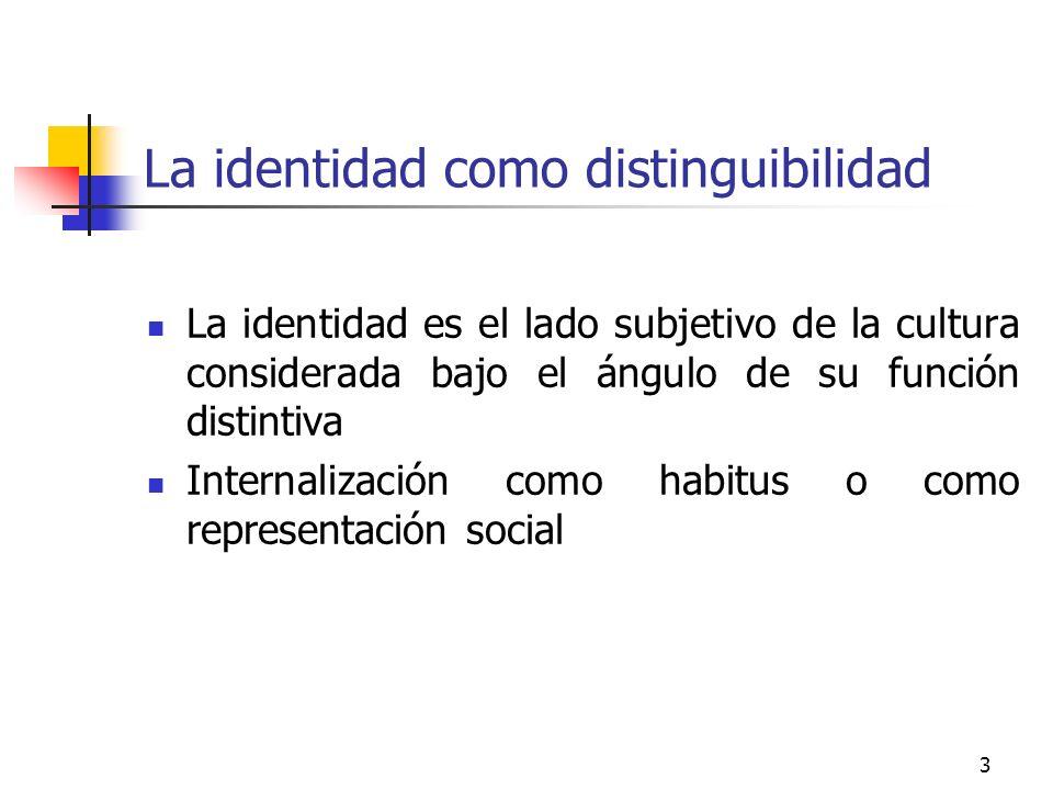 3 La identidad como distinguibilidad La identidad es el lado subjetivo de la cultura considerada bajo el ángulo de su función distintiva Internalizaci