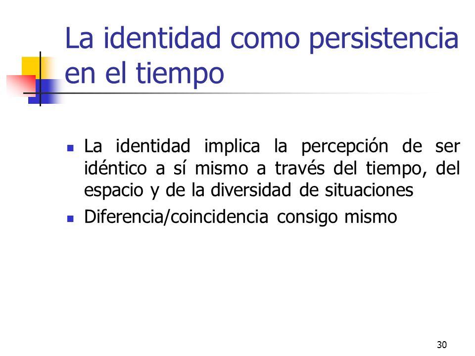 30 La identidad como persistencia en el tiempo La identidad implica la percepción de ser idéntico a sí mismo a través del tiempo, del espacio y de la