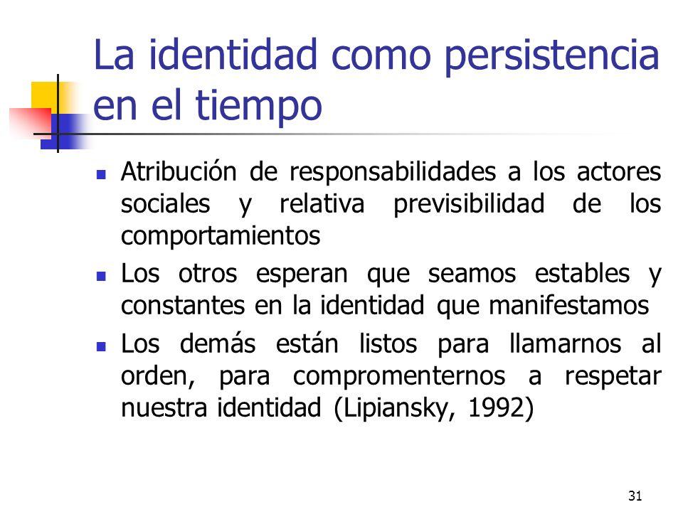 31 La identidad como persistencia en el tiempo Atribución de responsabilidades a los actores sociales y relativa previsibilidad de los comportamientos