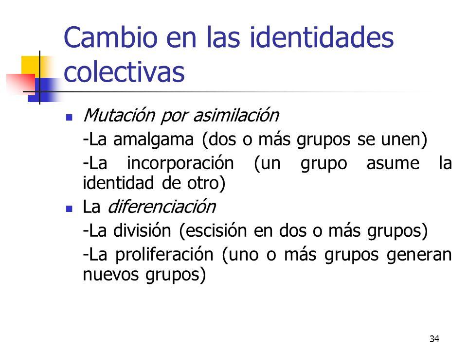 34 Cambio en las identidades colectivas Mutación por asimilación -La amalgama (dos o más grupos se unen) -La incorporación (un grupo asume la identida