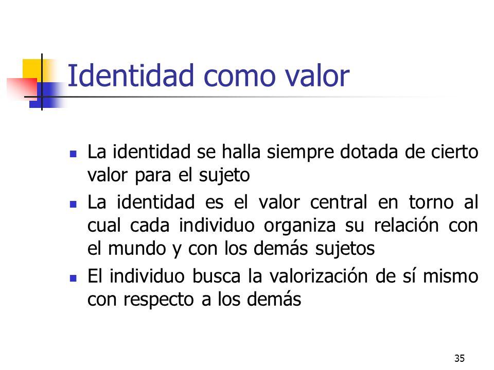 35 Identidad como valor La identidad se halla siempre dotada de cierto valor para el sujeto La identidad es el valor central en torno al cual cada ind