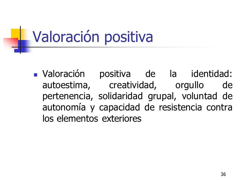 36 Valoración positiva Valoración positiva de la identidad: autoestima, creatividad, orgullo de pertenencia, solidaridad grupal, voluntad de autonomía