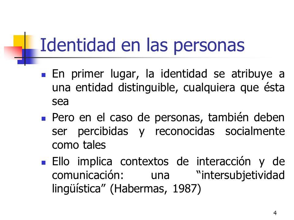 4 Identidad en las personas En primer lugar, la identidad se atribuye a una entidad distinguible, cualquiera que ésta sea Pero en el caso de personas,