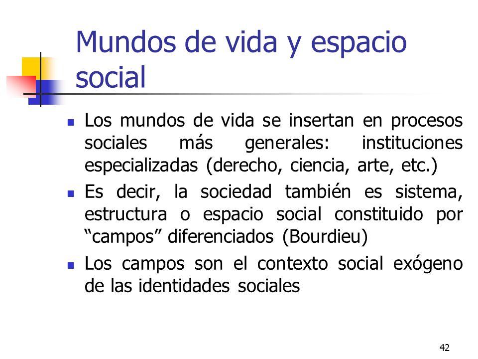 42 Mundos de vida y espacio social Los mundos de vida se insertan en procesos sociales más generales: instituciones especializadas (derecho, ciencia,