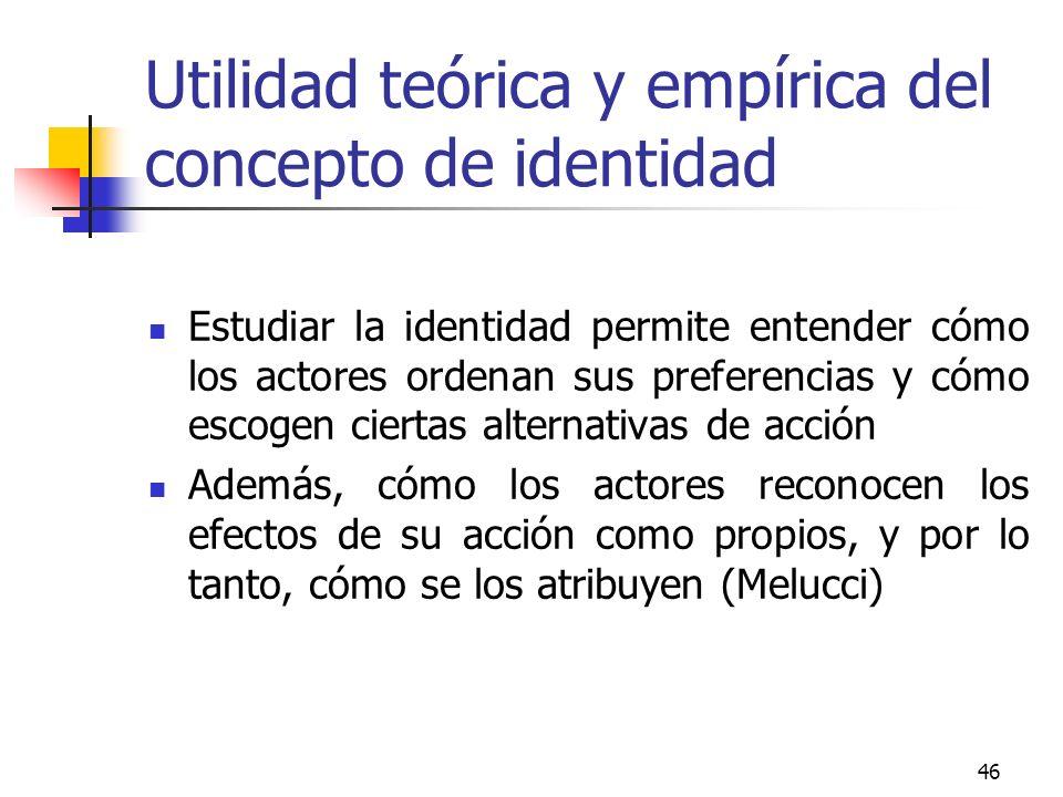 46 Utilidad teórica y empírica del concepto de identidad Estudiar la identidad permite entender cómo los actores ordenan sus preferencias y cómo escog