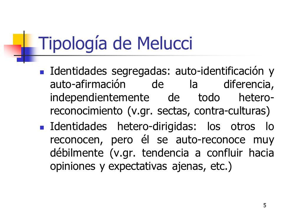 5 Tipología de Melucci Identidades segregadas: auto-identificación y auto-afirmación de la diferencia, independientemente de todo hetero- reconocimien