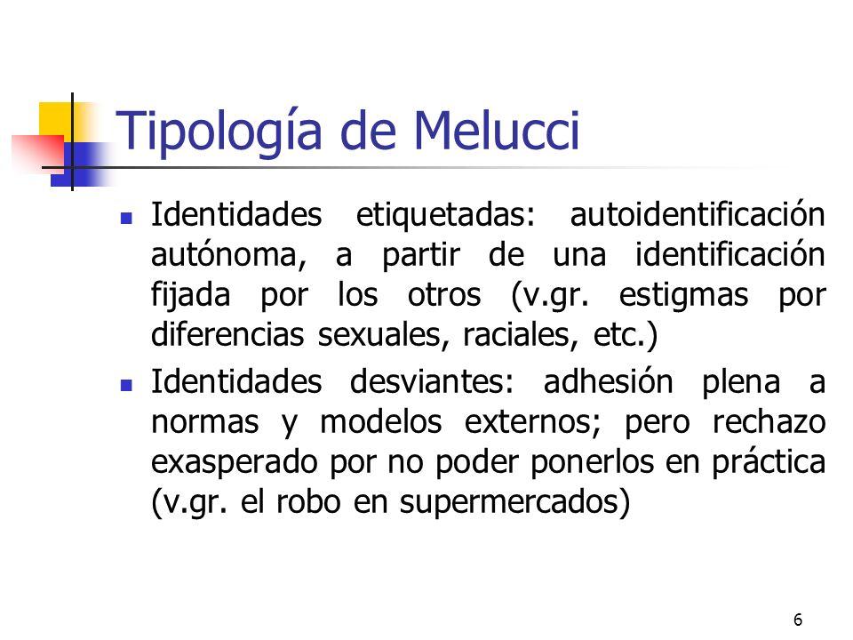 6 Tipología de Melucci Identidades etiquetadas: autoidentificación autónoma, a partir de una identificación fijada por los otros (v.gr. estigmas por d