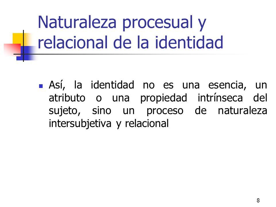 8 Naturaleza procesual y relacional de la identidad Así, la identidad no es una esencia, un atributo o una propiedad intrínseca del sujeto, sino un pr