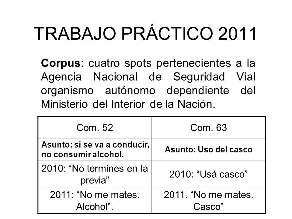TRABAJO PRÁCTICO 2011 Corpus Corpus: cuatro spots pertenecientes a la Agencia Nacional de Seguridad Vial organismo autónomo dependiente del Ministerio del Interior de la Nación.
