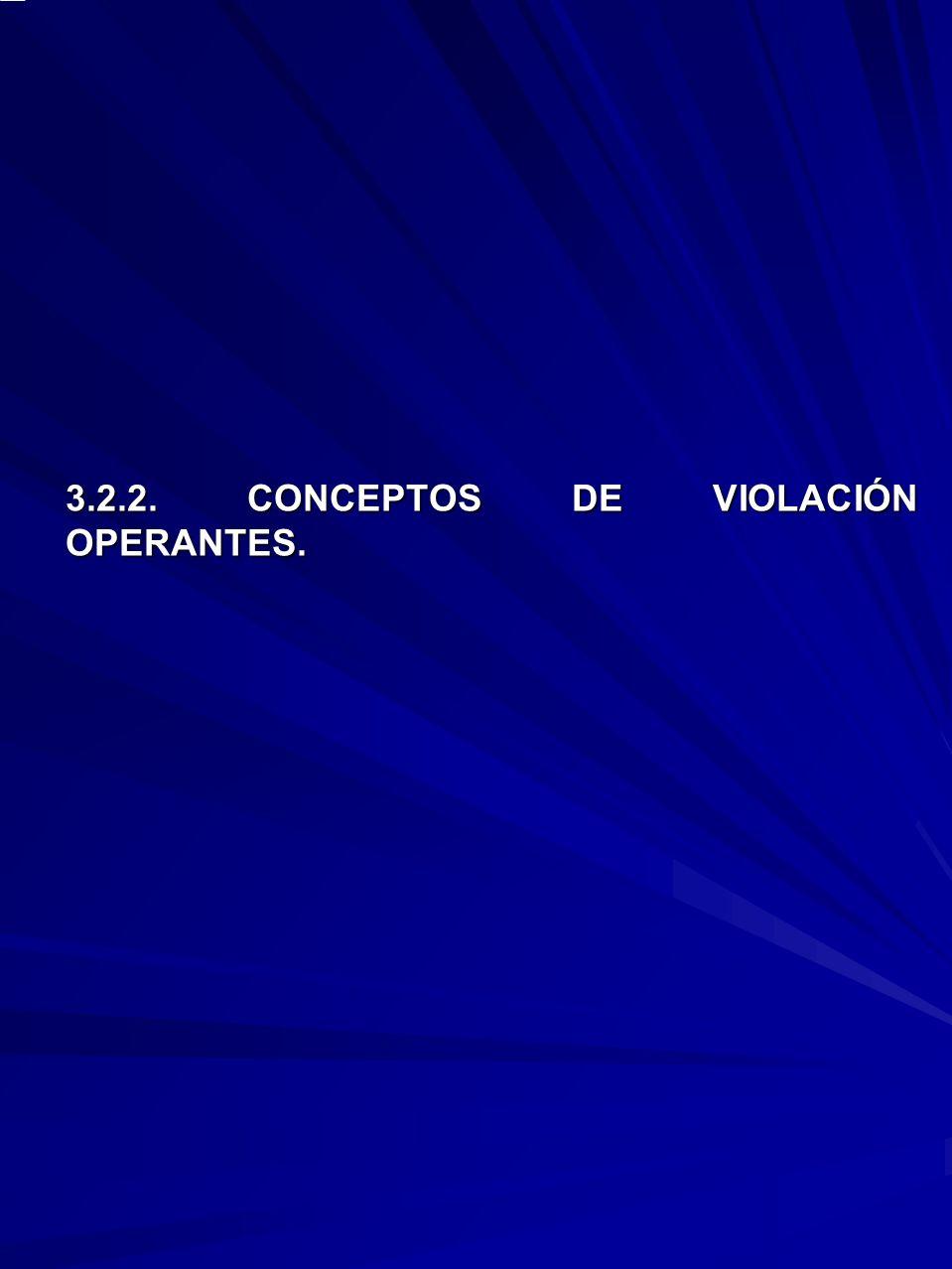3.2.2. CONCEPTOS DE VIOLACIÓN OPERANTES.