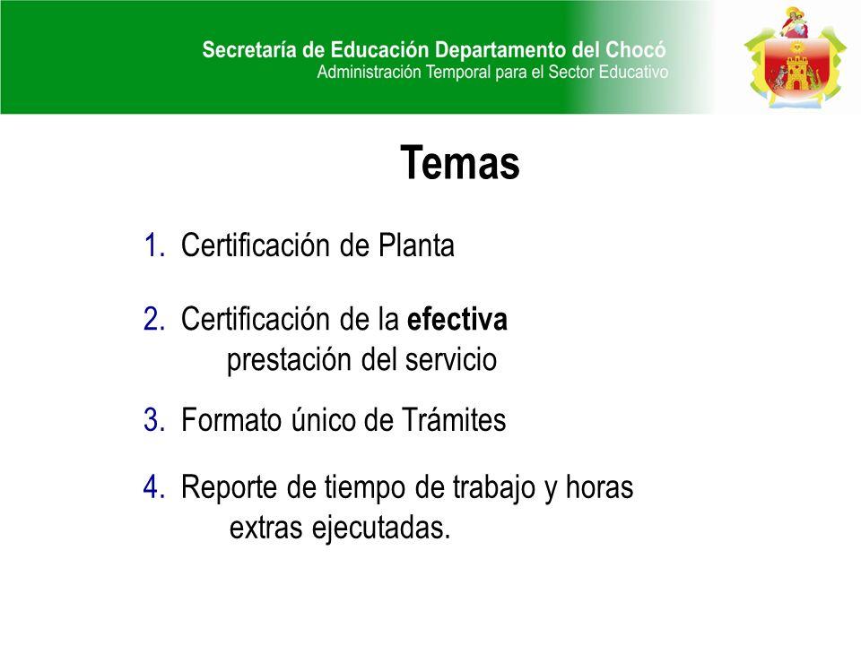 1. Certificación de Planta 2. Certificación de la efectiva prestación del servicio 4. Reporte de tiempo de trabajo y horas extras ejecutadas. 3. Forma